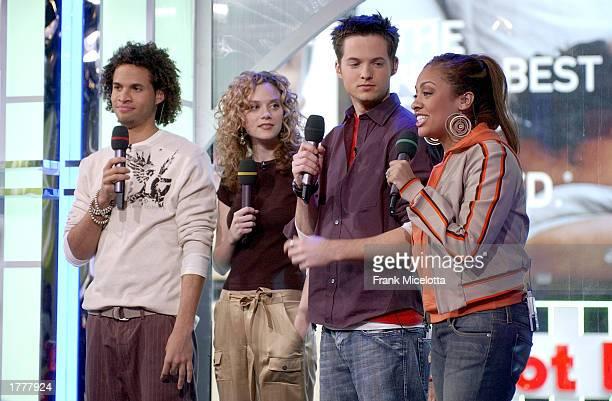 MTV VJ's Quddus Hilarie Burton Damien and La La appear on MTV's TRL at the MTV Times Square Studios February 11 2003 in New York City