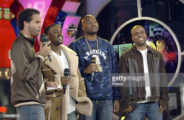 MTV's Quddus Kanye West and Consequence during Usher Pharrell Williams Kanye West Robin Thicke Click 5 Visit MTV's 'TRL' November 7 2005 at TRL...