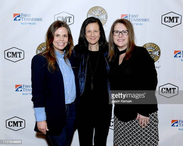 CMT's Rachael Wall SVP of Music Strategy for CMT Leslie Fram and CMT SVP of Operations Suzanne Norman attend the Twelfth Annual Louise Scruggs...