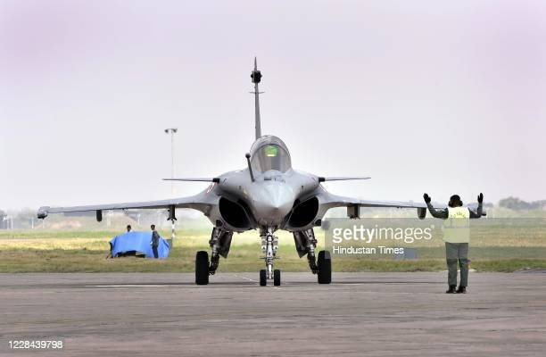 S Rafale aircraft during the induction ceremony on September 10, 2020 in Ambala, India. The aircraft will be part of 17 Squadron, the Golden Arrows....