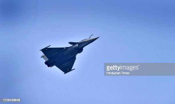 S Rafale aircraft flies during the Rafale induction ceremony on September 10, 2020 in Ambala, India. The aircraft will be part of 17 Squadron, the...