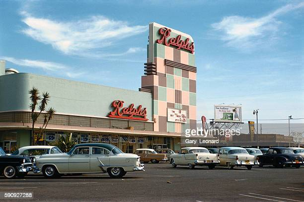 1950's Ralphs supermarket with old cars out front