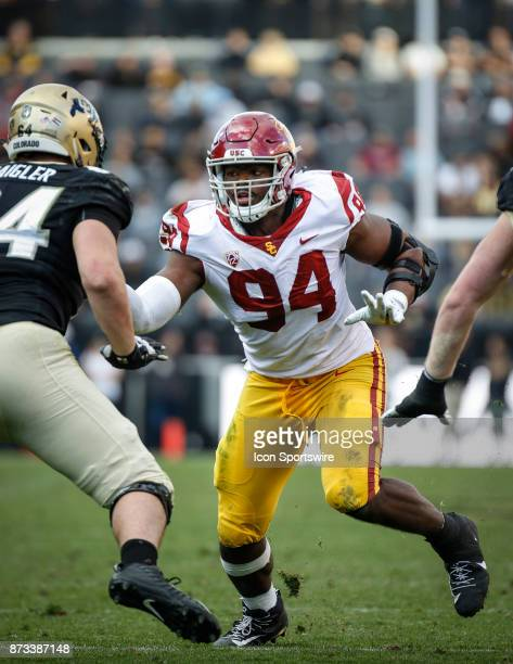 USC's Rasheem Green rushes the quarterback during the Colorado Buffalos game versus the USC Trojans on November 11 at Folsom Field in Boulder Co USC...