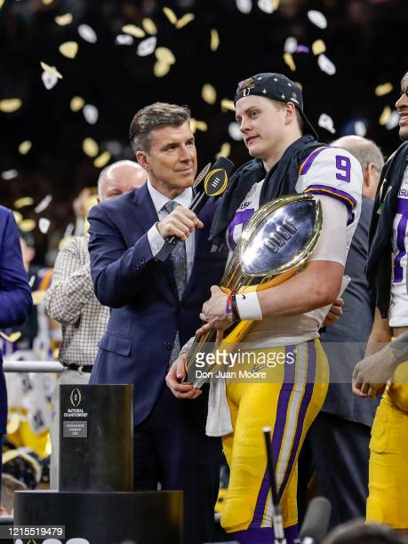 ESPN's Rece Davis interviews Quarterback Joe Burrow of the LSU Tigers on stage after the College Football Playoff National Championship game against...