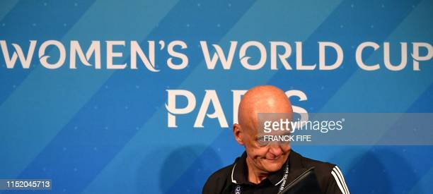 FIFA's Referees Committee Italian chairman Pierluigi Collina arrives for a press conference during the France 2019 Women's football World Cup in...