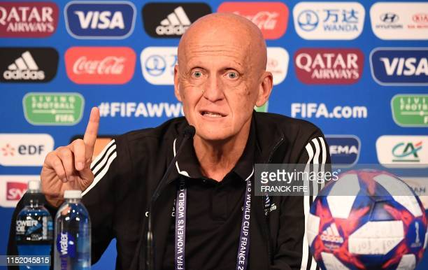 FIFA's Referees Committee Italian chairman Pierluigi Collina gestures as he gives a press conference during the France 2019 Women's football World...