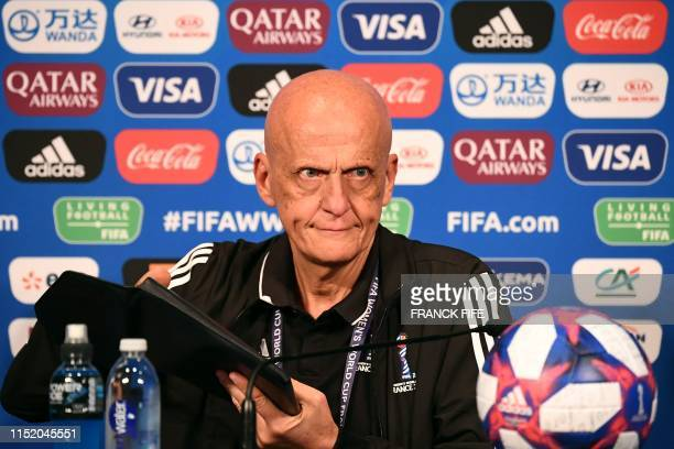 FIFA's Referees Committee Italian chairman Pierluigi Collina gives a press conference during the France 2019 Women's football World Cup in Paris on...
