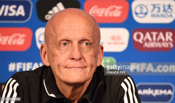 FIFA's Referees Committee Italian chairman Pierluigi Collina looks on as he gives a press conference during the France 2019 Women's football World...