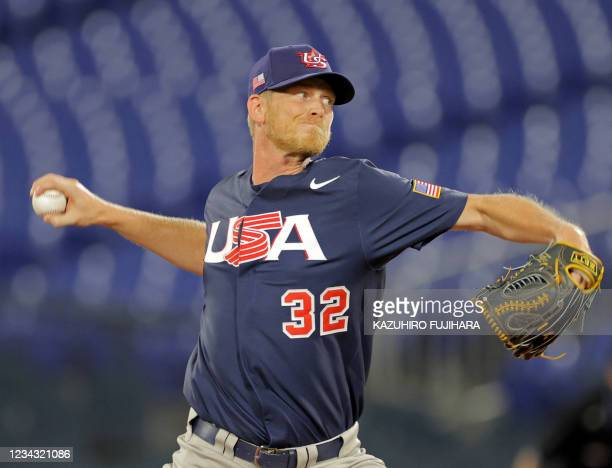 S relief pitcher Brandon Dickson hurls the ball during the seventh inning of the Tokyo 2020 Olympic Games baseball opening round group B game between...