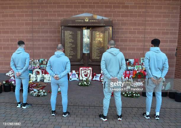 S representatives Barry Lewtas and Ben Woodburn and U18's representatives Mark-Bridge-Wilkinson and Jarell Quansah at the Hillsborough memorial at...