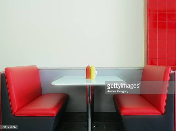 50's retro style diner table - vintage restaurant stock pictures, royalty-free photos & images