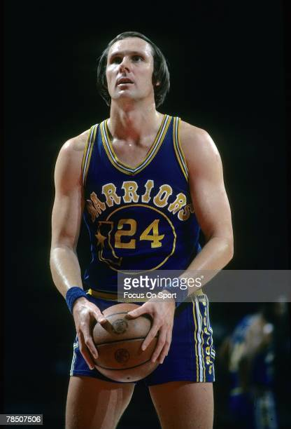 Rick Barry of the Golden State Warriors at the free throw line during a mid circa 1970's NBA basketball game. Barry played for the Warriors from 1972...