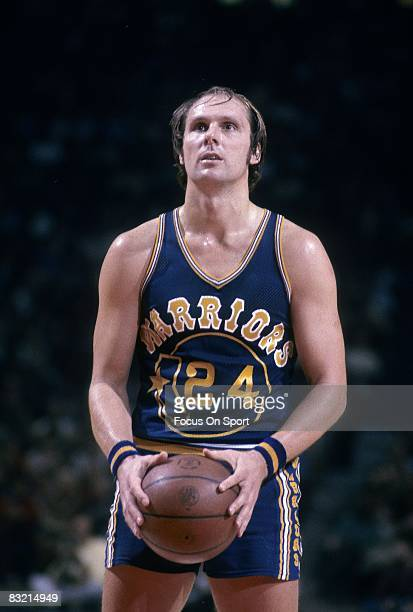 CIRCA 1970's Rick Barry of the Golden State Warriors at the free throw line during a mid circa 1970's NBA basketball game Barry played for the...
