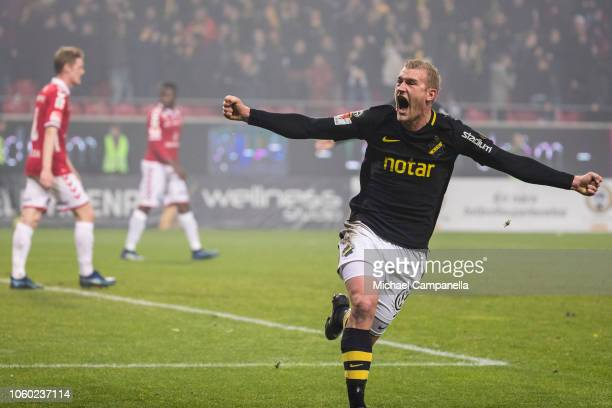AIK's Robin Jansson scores the 10 goal securing a first place finish in Allsvenskan during an Allsvenskan match between Kalmar FF and AIK at...