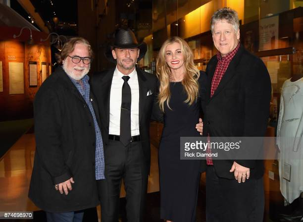 CAA's Rod Essig Tim McGraw Faith Hill and CAA's John Huie attend the Country Music Hall of Fame and Museum's debut of the Tim McGraw and Faith Hill...