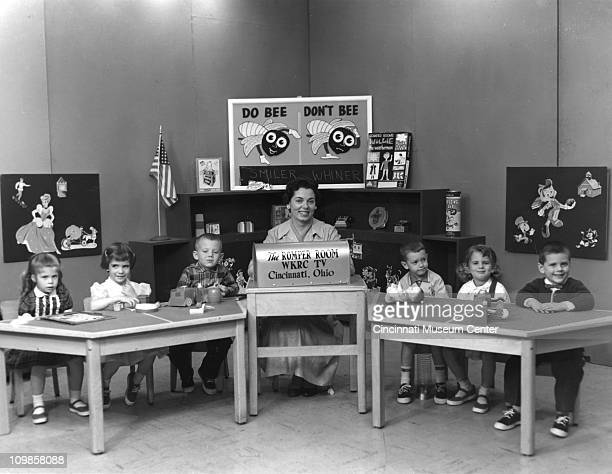 TV's 'Romper Room' children's program with hostess 'Miss Kay' King and an unidentified cast of children Cincinnati Ohio 1958