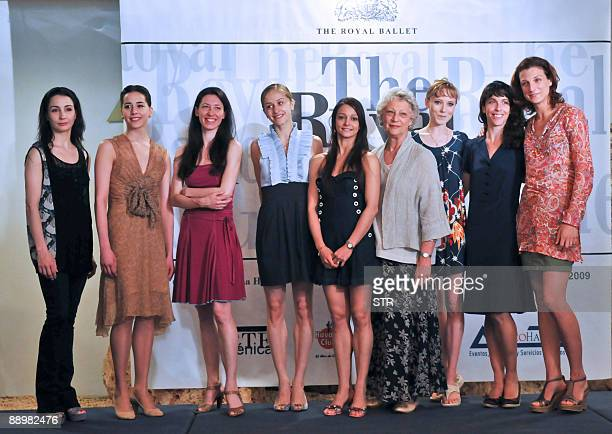 UK's Royal Ballet director Monica Mason poses for a photo with the first female dancers during a press conference July 11 2009 in Havana to present...