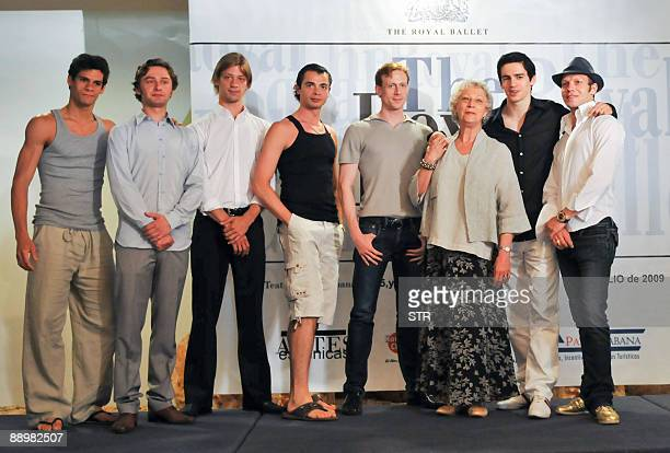 UK's Royal Ballet director Monica Mason poses for a photo with the group's first male dancers during a press conference July 11 2009 in Havana to...