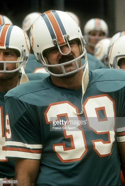 MIAMI FL CIRCA 1970's Running back Larry Csonka of the Miami Dolphins coming onto the field circa mid 1970's before the start of an NFL football game...