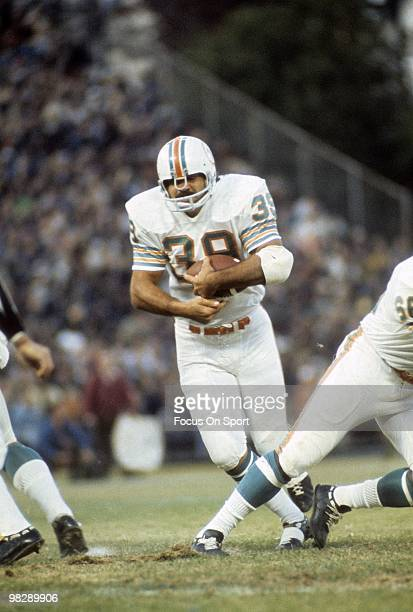 CIRCA 1970's Running back Larry Csonka of the Miami Dolphins in action carries the ball circa early 1970's during an NFL football game Csonka played...