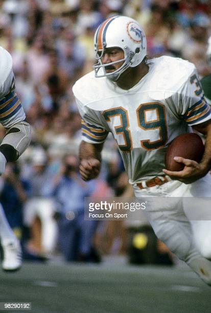 MIAMI FL CIRCA 1970's Running back Larry Csonka of the Miami Dolphins in action carries the ball circa mid 1970's during an NFL football game at the...