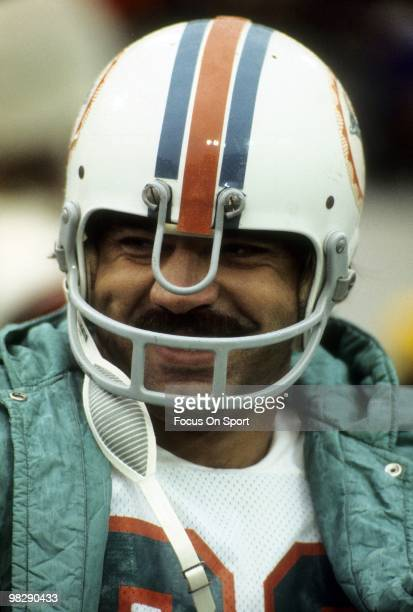 CIRCA 1970's Running back Larry Csonka of the Miami Dolphins watches the action from the sidelines circa mid 1970's during an NFL football game...