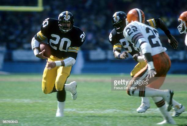 CLEVELAND OH CIRCA 1970's Running back Rocky Bleier of the Pittsburgh Steelers carries the ball looking to get a block from teammate Len Swann on...