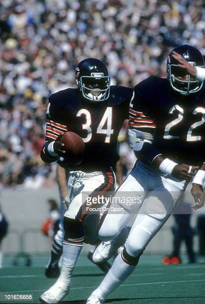 CHICAGO IL CIRCA 1970's Running back Walter Payton of the Chicago Bears in action carries the ball circa late 1970's during an NFL football game at...