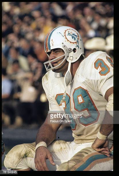 MIAMI FL CIRCA 1970's Runningback Larry Czonka of the Miami Dolphins sits on the bench during a circa 1970's NFL football game Czonk played for the...