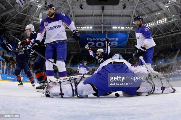 USA's Ryan Donato celebrates scoring in the men's preliminary round ice hockey match between the US and Slovakia during the Pyeongchang 2018 Winter...