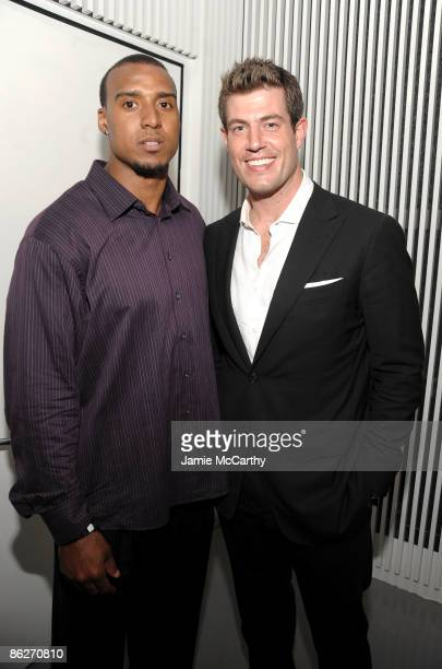 NFL's Ryan Grant of the Green Bay Packers and NFL quarterback and the Bachelor's Jesse Palmer attend the PR/PR launch party at Red Bull Space on...