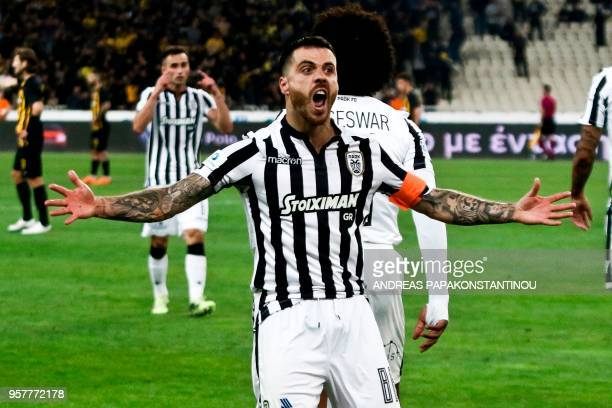 PAOK's Salonika Adelino Andre Vierinha celebrates a goal during Greek Cup final football match between AEK FC and PAOK Salonika at the Olympic...