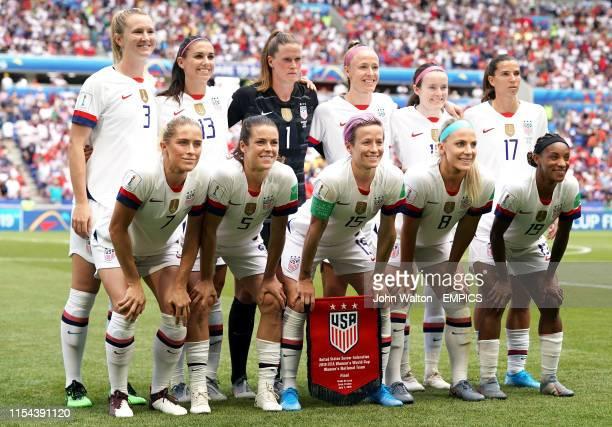 USA's Sam Mewis Alex Morgan goalkeeper Alyssa Naeher Becky Sauerbrunn Rose Lavelle Tobin Heath Abby Dahlkemper Kelley O'Hara Megan Rapinoe Julie Ertz...