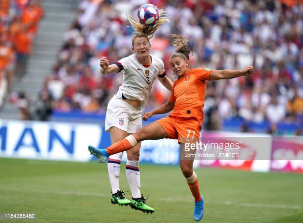 USA's Sam Mewis and Netherlands' Lieke Martens battle for the ball USA v Netherlands FIFA Women's World Cup 2019 Final Stade de Lyon