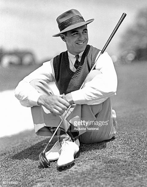 AUGUSTA GA 1930's Sam Snead sits on the ground for a portrait during a 1930's Masters Tournament at Augusta National Golf Club in Augusta Georgia