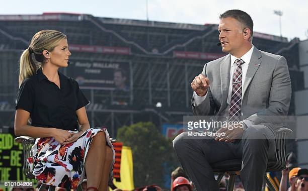 ESPN's Samantha Ponder interviews head coach Justin Fuente of the Virginia Tech Hokies during College Gameday prior to the game between the Virginia...