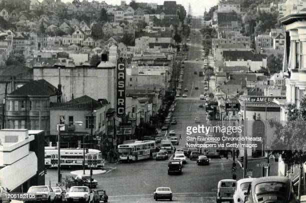 San Francisco Muni buses on Castro and 17th Streets. September 30, 1979