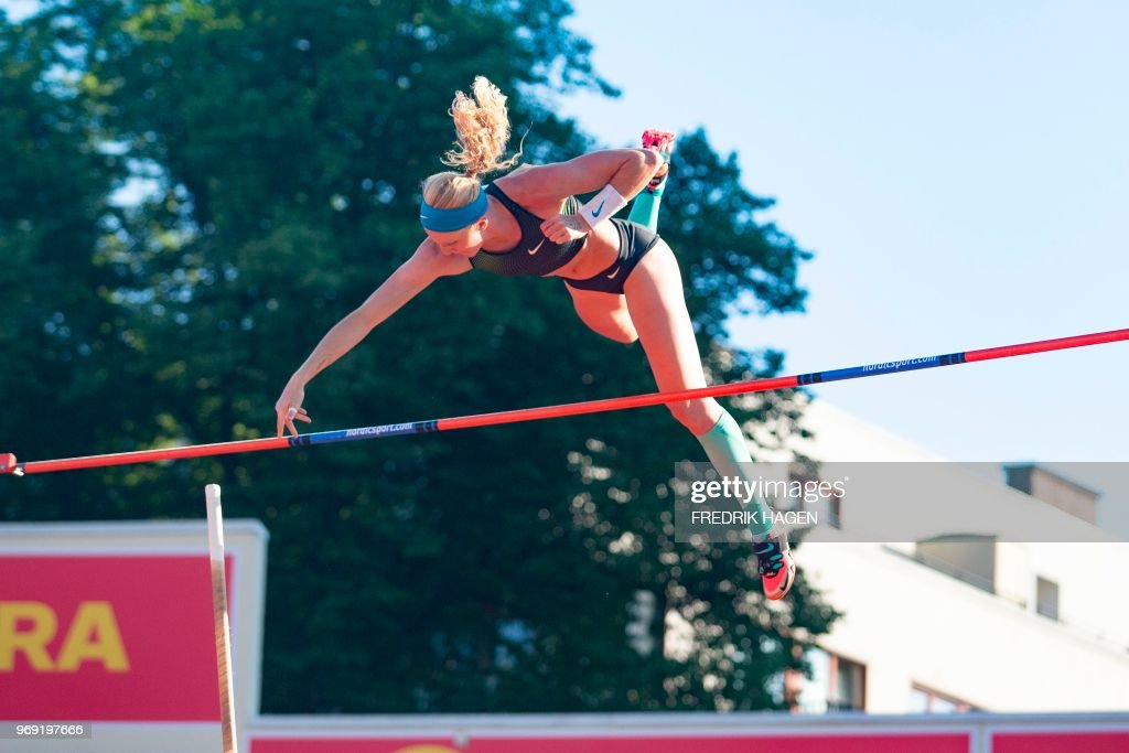 US's Sandi Morris competes during the Women's Pole Vault at the IAAF Diamond League 2018 Bislett Games on June 7, 2018 at Bislett Stadium in Oslo, Norway. (Photo by Fredrik HAGEN / NTB Scanpix / AFP) / Norway OUT