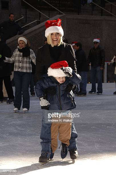 ABC's Santa Baby's Jenny McCarthy helps her son Evan Asher ice skate at the Rockefeller Center Ice Rink during the ABC Family 25 Days Of Christmas...