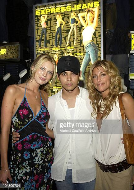 S Sara Foster, Wilmer Valderrama and Jennifer Esposito wearing EXPRESS clothing, during a launch party at the new EXPRESS flagship store at the...