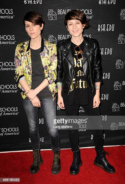 Y100's Sara Quin and Tegan Quin of Tegan and Sara attend Y100's Jingle Ball 2013 Presented by Jam Audio Collection at BBT Center on December 20 2013...