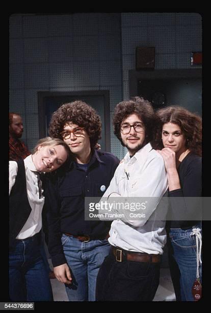 NBC's Saturday Night Live cast Jane Curtin Al Franken Tom Davis and Gilda Radner