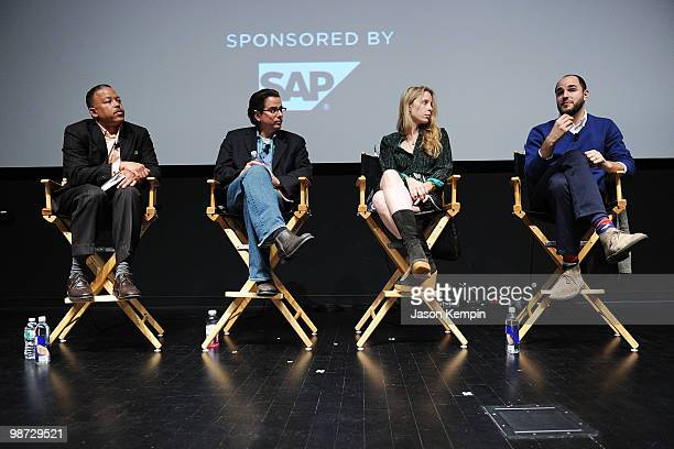 SAP's Scott Barrows producer Craig Cohen producer Jen Gatien and Gilbert Film's Jordan Horowitz speak atTribeca Talks Industry Production Budget...