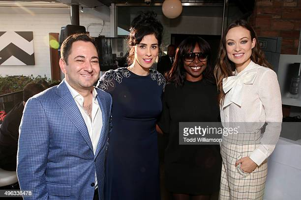 S Scott Feinberg, actress Sarah Silverman, AFI FEST Director Jacqueline Lyanga and actress Olivia Wilde attend the photo call for 'Indie Contenders...