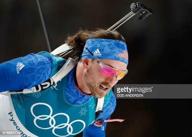 USA's Sean Doherty competes in the men's 10km sprint biathlon event during the Pyeongchang 2018 Winter Olympic Games on February 11 in Pyeongchang /...