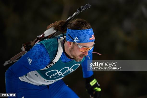 USA's Sean Doherty competes in the men's 10km sprint biathlon event during the Pyeongchang 2018 Winter Olympic Games in Pyeongchang on February 11...