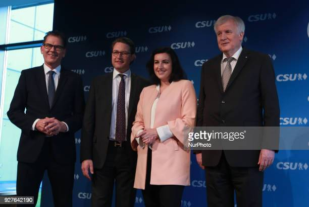 CSU's secretary general and designated minister of traffic Andreas Scheuer Minister of economic relations and development Gerd Müller CSU's vice...