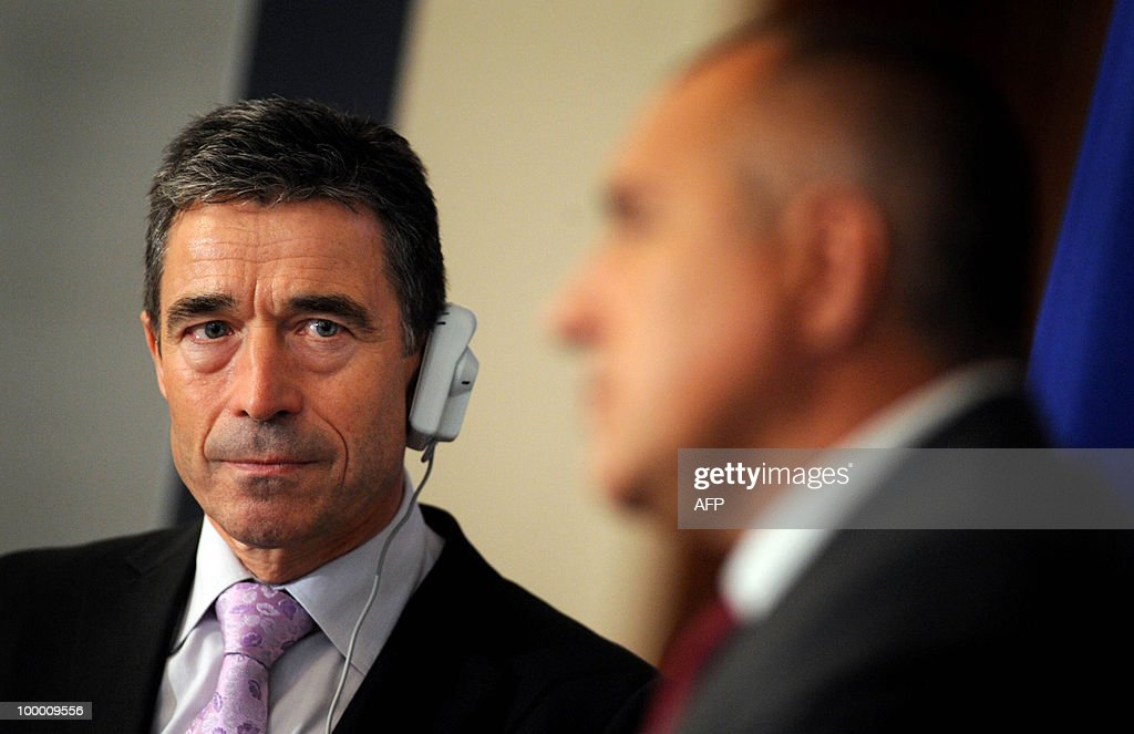 NATO's Secretary General Anders Fogh Rasmussen (L) listens to Bulgarian Prime Minister Boyko Borisov during a news conference after their meeting in Sofia on May 20, 2010. Rasmussen is currently on a two-day official visit in Bulgaria.