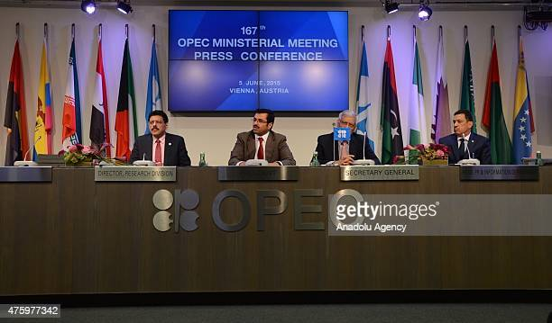 OPEC's SecretaryGeneral Abdullah alBadri speaks during the 167th OPEC Ministerial Meeting Press Conference in Vienna Austria on June 5 2015 A twoday...