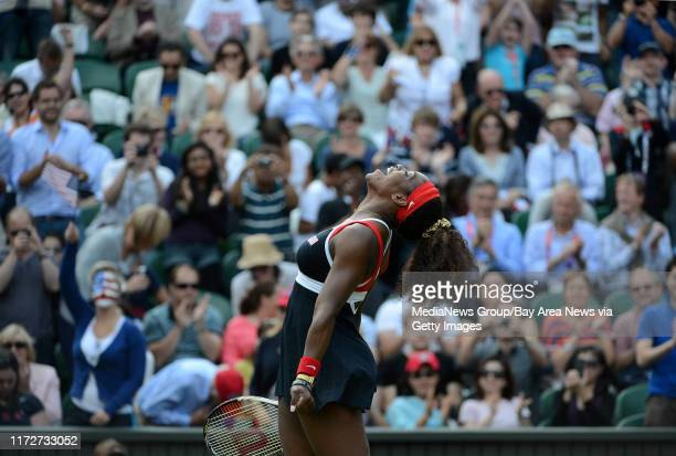 USA's Serena Williams celebrates after beating Russia's Maria Sharapova 60 61 for the Women's Singles Tennis gold medal match at Wimbledon Centre...